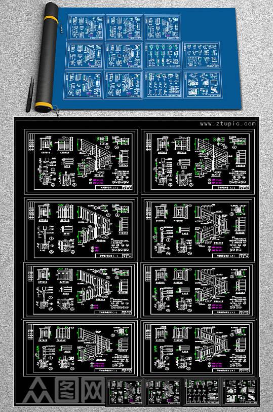 原创全套楼梯分解CAD施工图-众图网