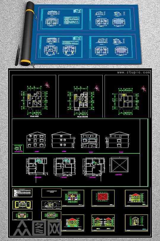 原创全套别墅CAD施工图-众图网