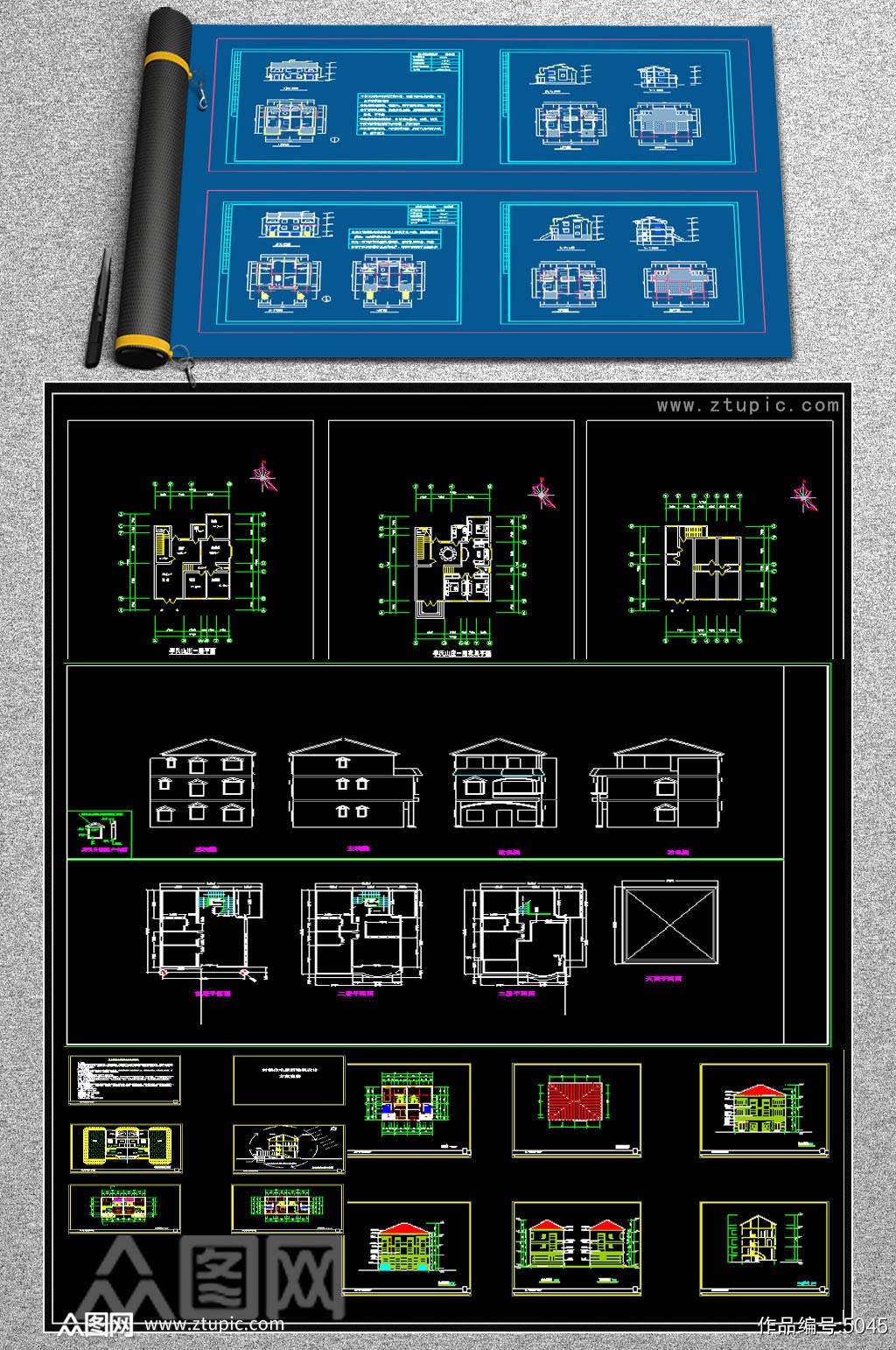 原创全套别墅CAD施工图素材