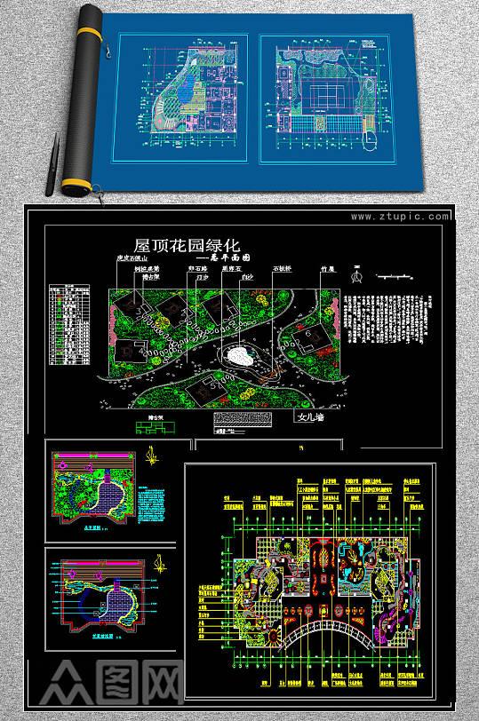 原创屋顶花园CAD平面施工图-众图网