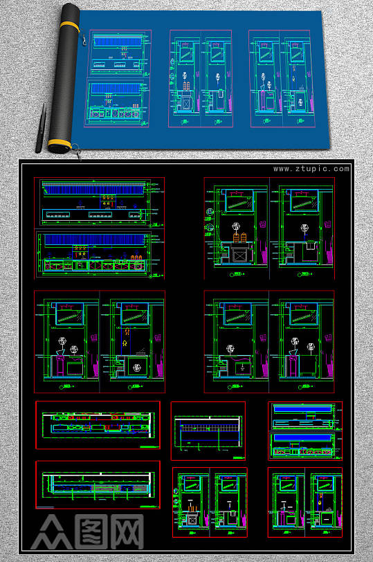 原创厨房CAD图纸-众图网