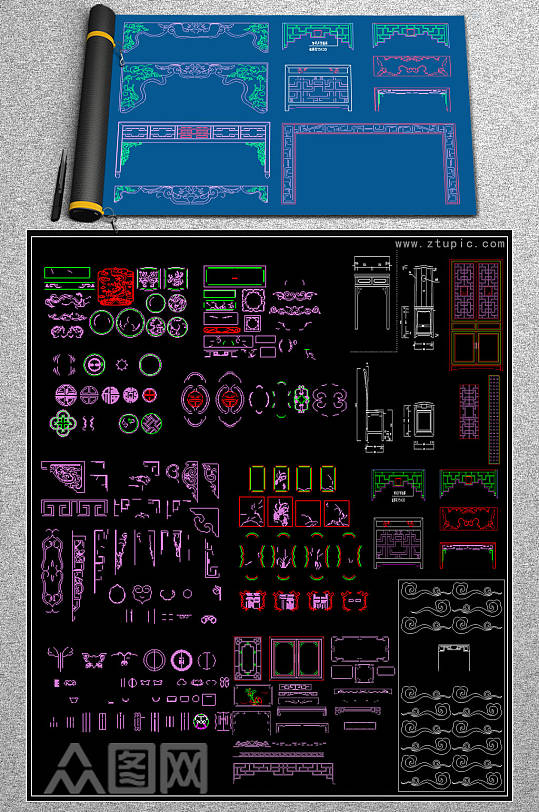 最新中式花格CAD图库-众图网