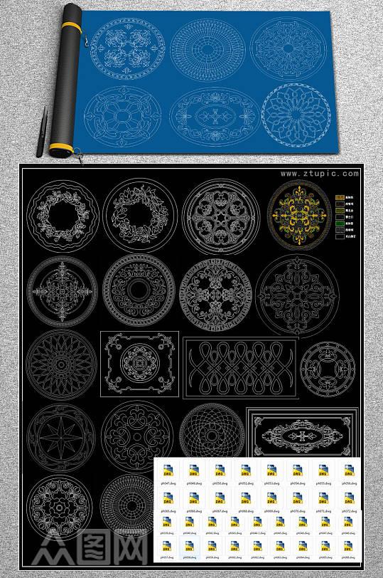 原创大理石拼花图案CAD图库-众图网
