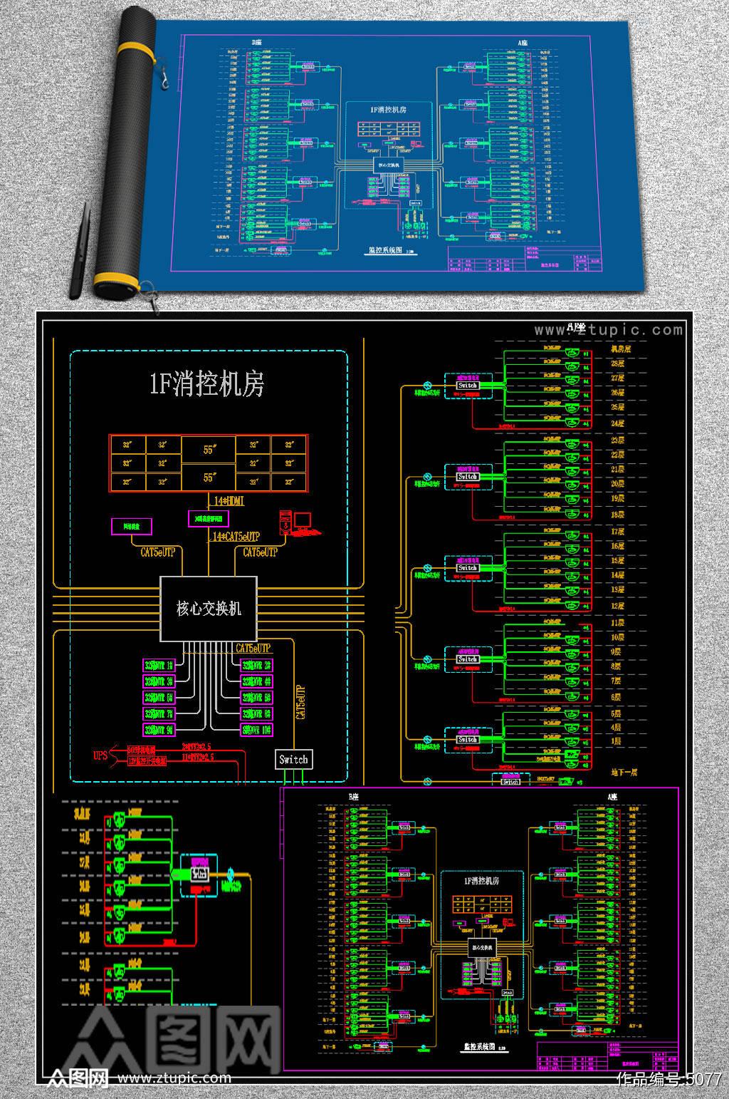 原创网络监控系统图模板CAD弱电智能化素材