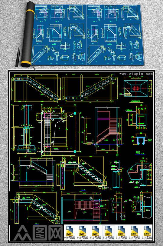 全套普通楼梯CAD图库-众图网