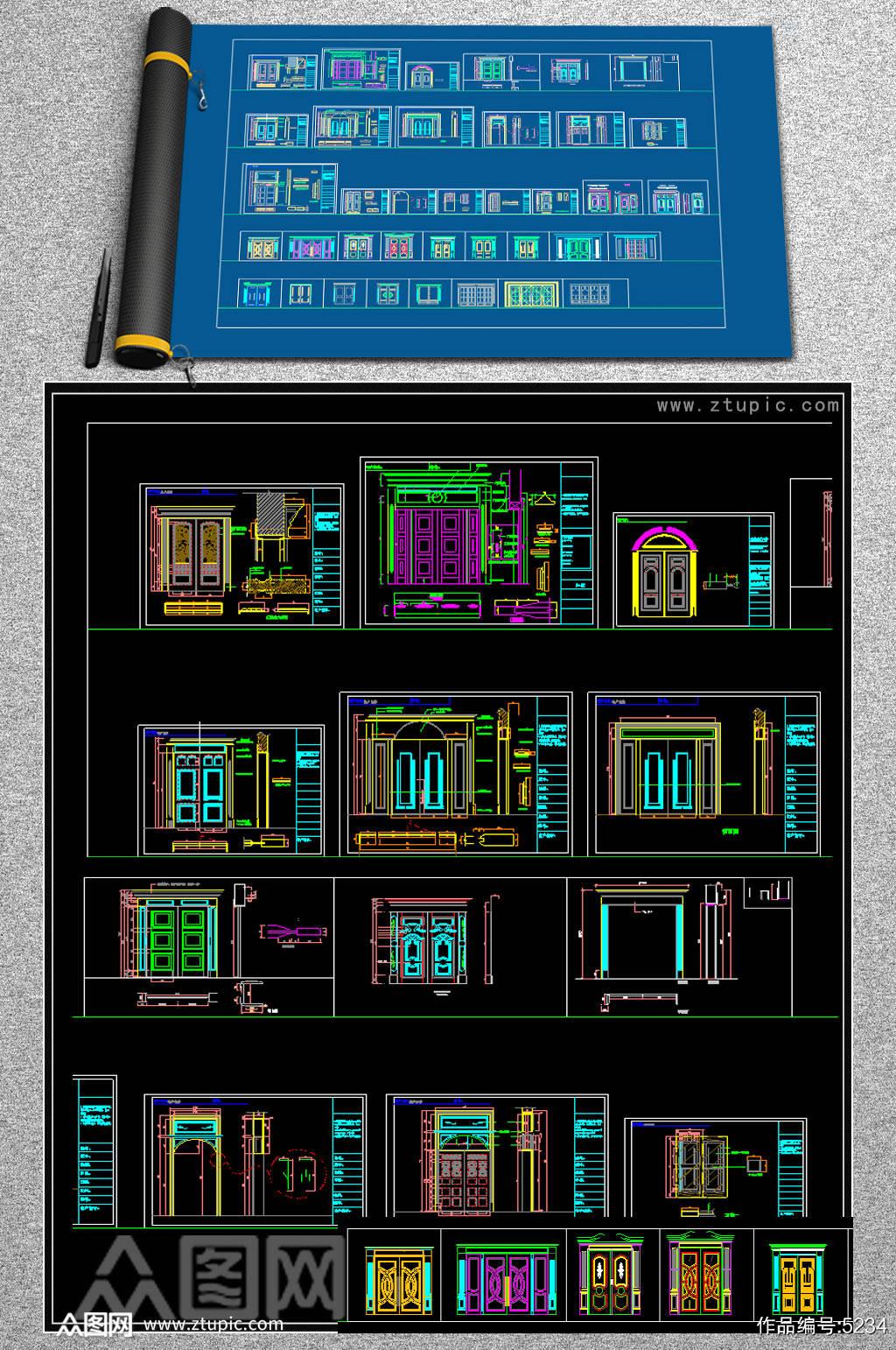 原创各种欧式门CAD图库素材