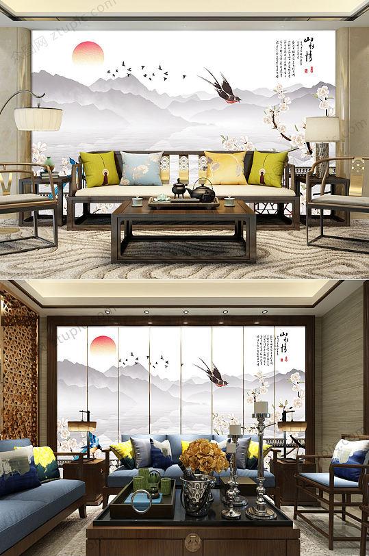 中式徽派马头墙花鸟背景墙-众图网