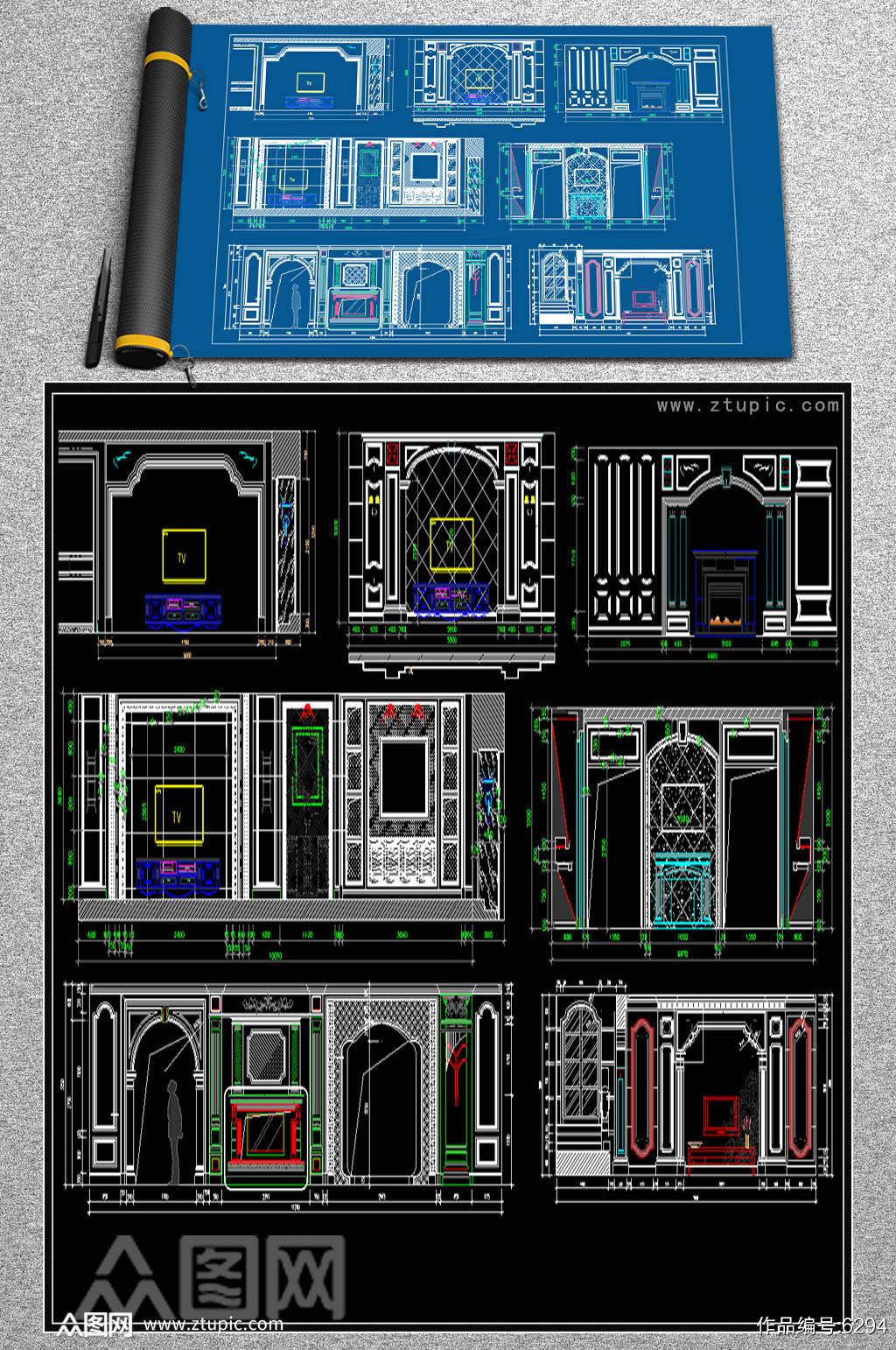 原创电视机背景墙CAD图例素材