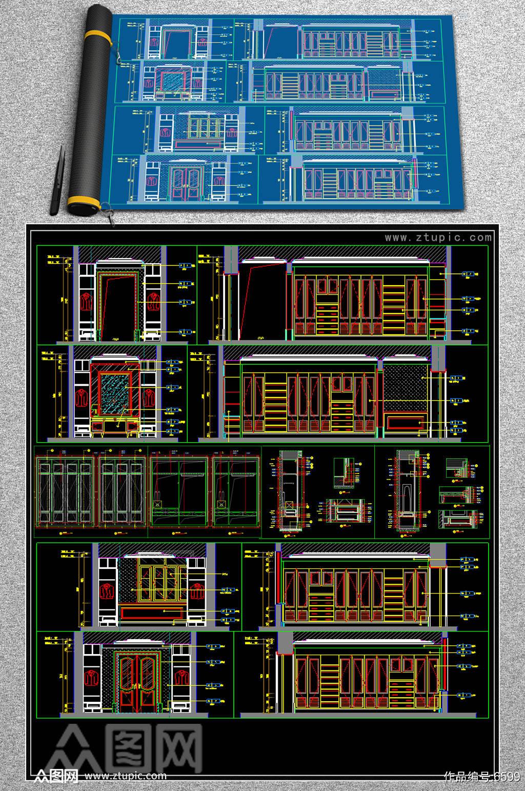 实木定制衣柜CAD素材素材