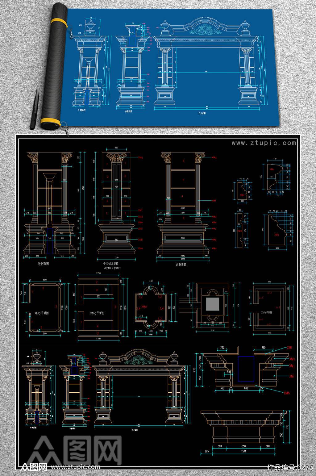 高大上门头CAD设计图素材