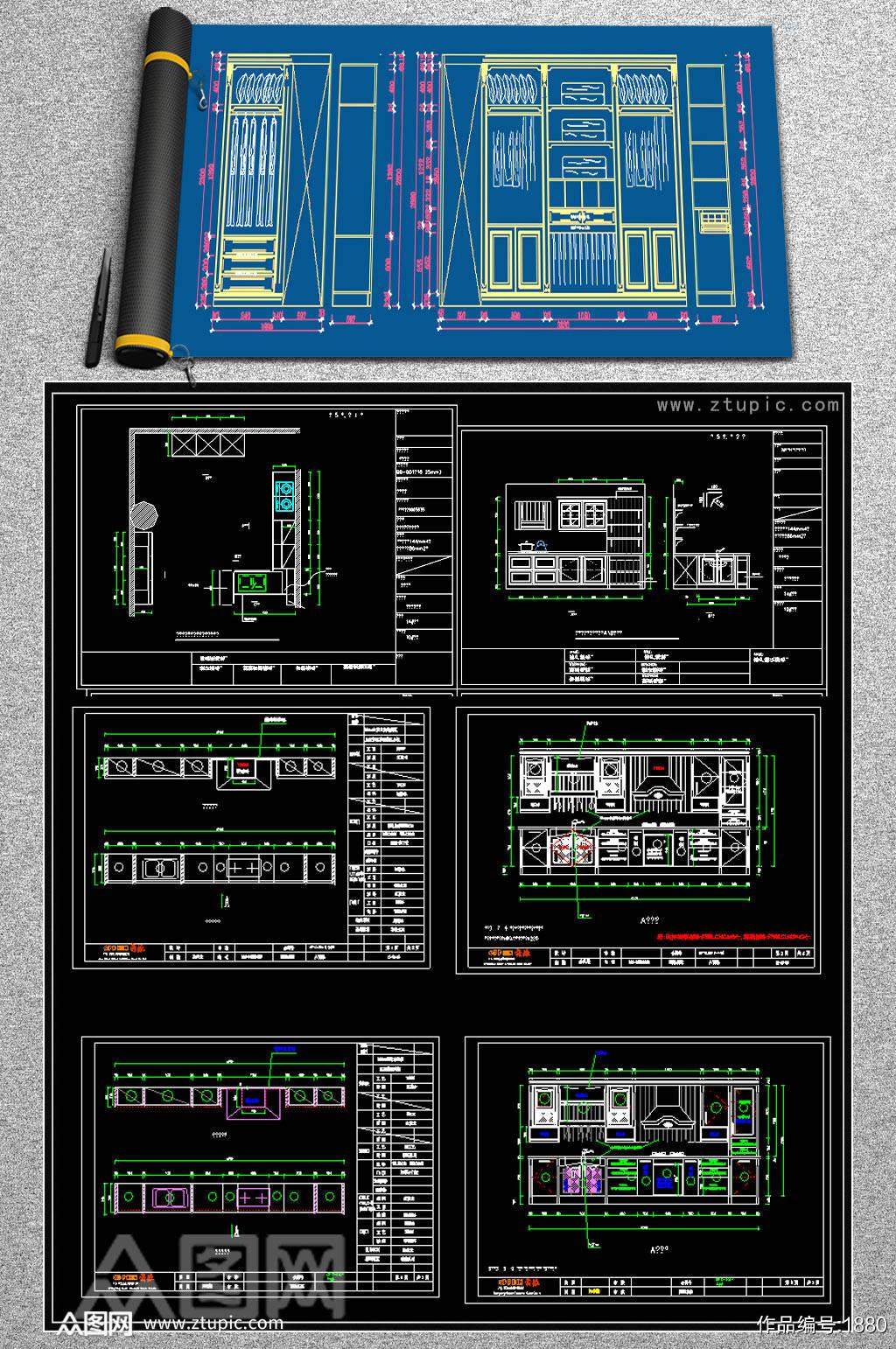 精品橱柜CAD图库素材