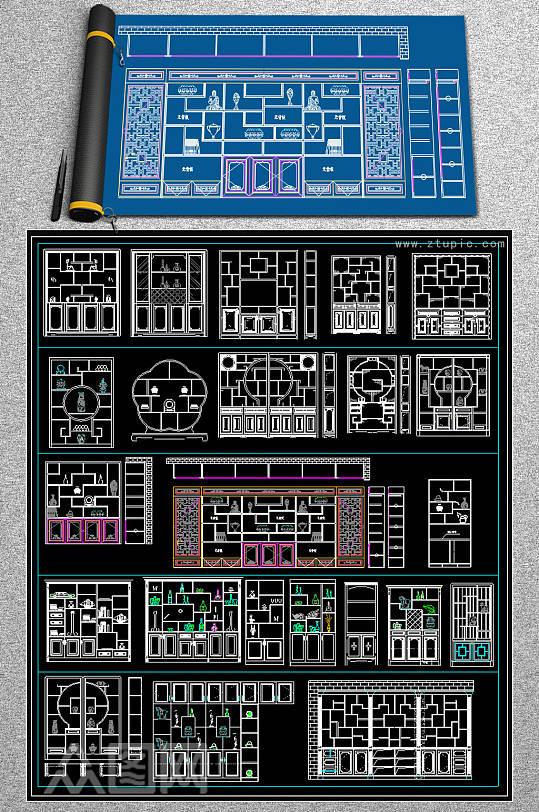 博古架博古柜装饰柜CAD图库酒店吧台-众图网