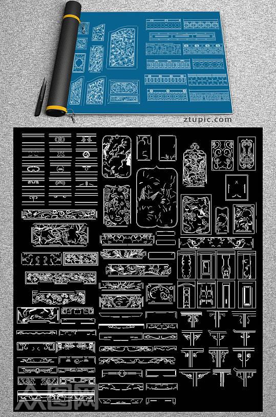 中式雕花纹新cad合集-众图网