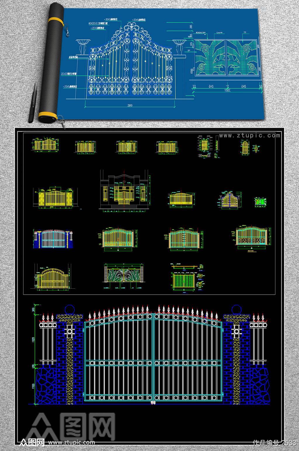 原创大门装修CAD施工设计图素材