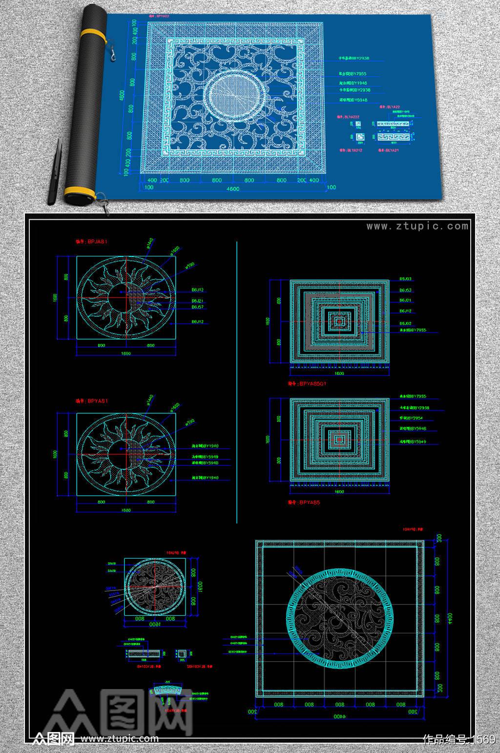 原创大理石水刀拼花图案CAD素材图库素材