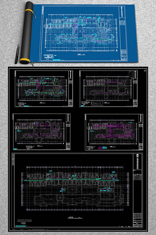 原创酒店电气CAD全套系统平面图-众图网
