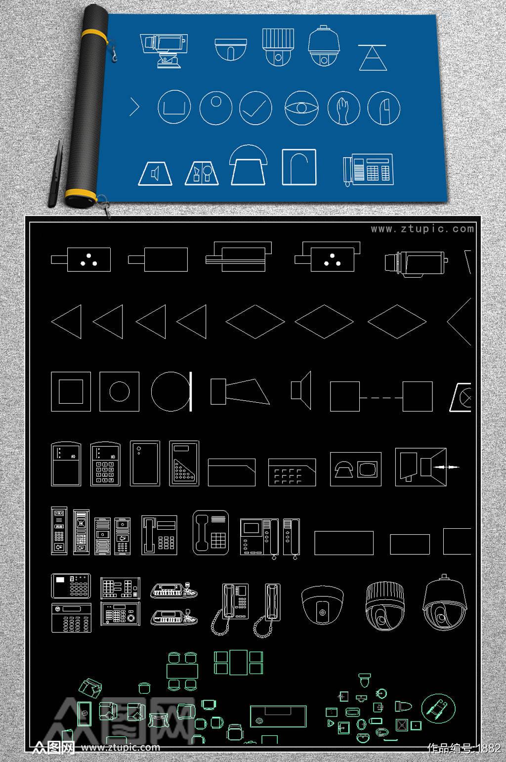 全套安防监控设备CAD图库素材