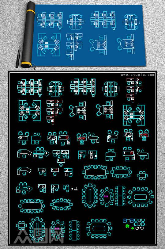 办公桌椅沙发器材家具CAD图库-众图网