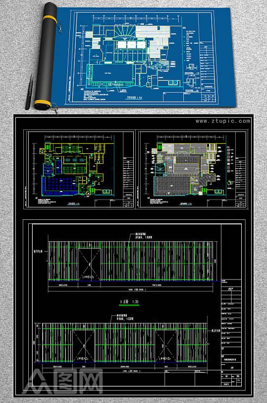 原创整套1800平米健身馆CAD素材-众图网