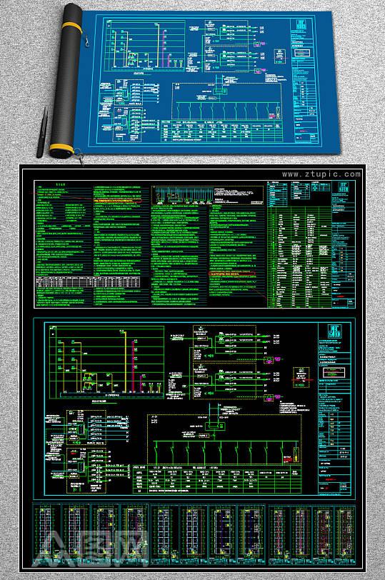 办公楼电气CAD全套平面施工图-众图网