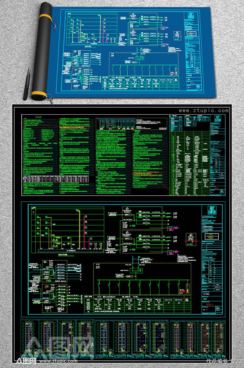 办公楼电气CAD全套平面施工图素材