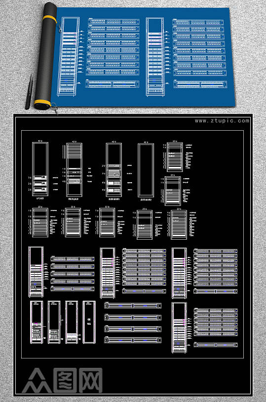 原创弱电机柜CAD图库-众图网