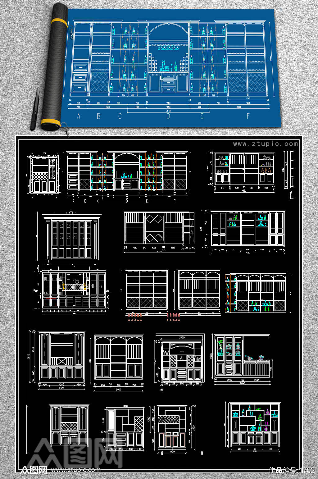 全屋定制酒柜书柜鞋柜衣柜CAD图库素材