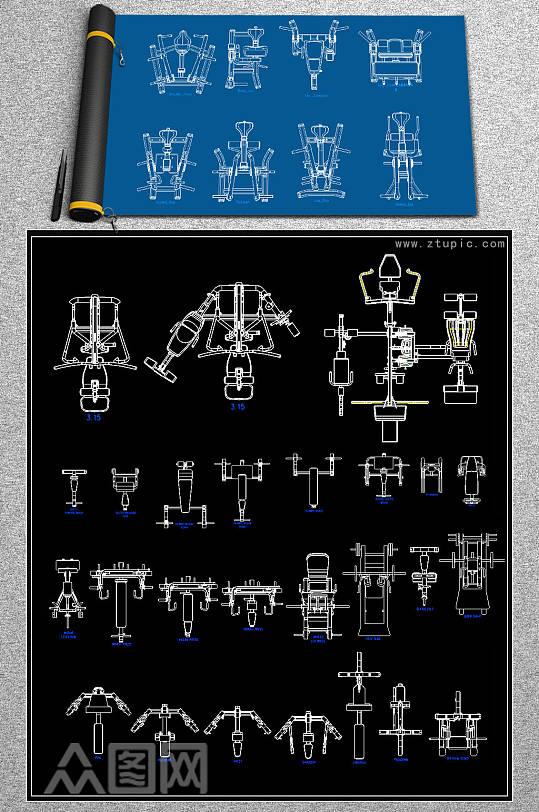 原创健身房全套CAD施工图-众图网