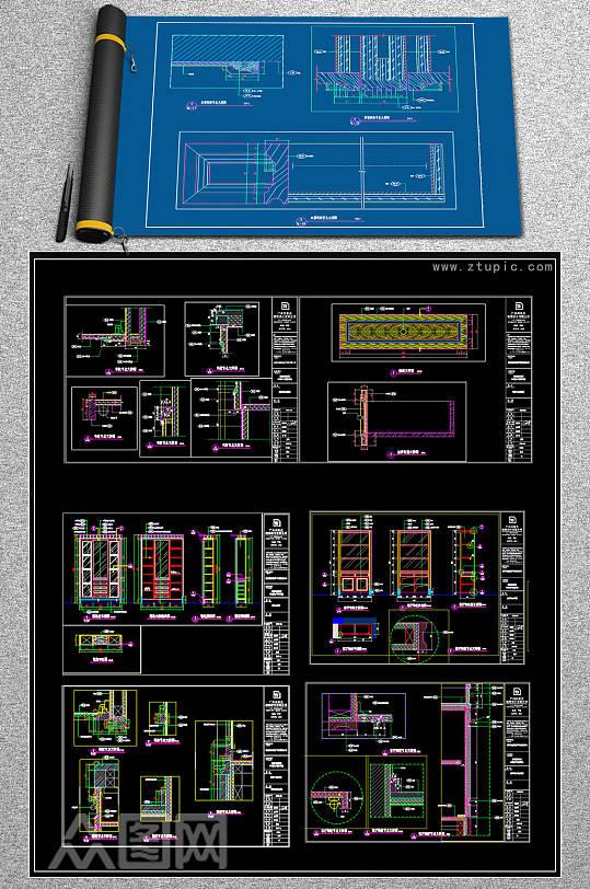 原创CAD欧式酒柜衣柜衣帽柜鞋柜大样施工图-众图网