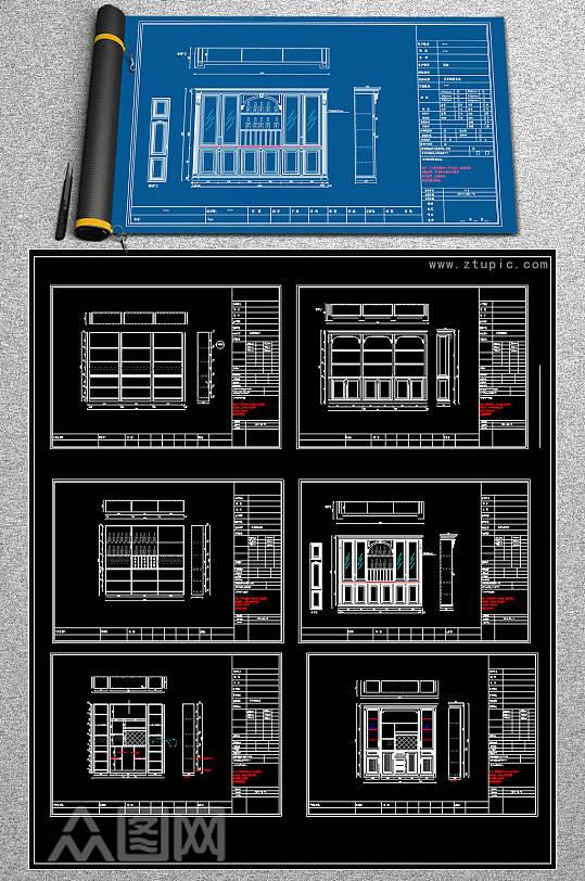 原创欧式酒柜书柜衣柜CAD图库-众图网