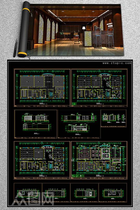 全套瑜伽会所CAD平面施工图-众图网