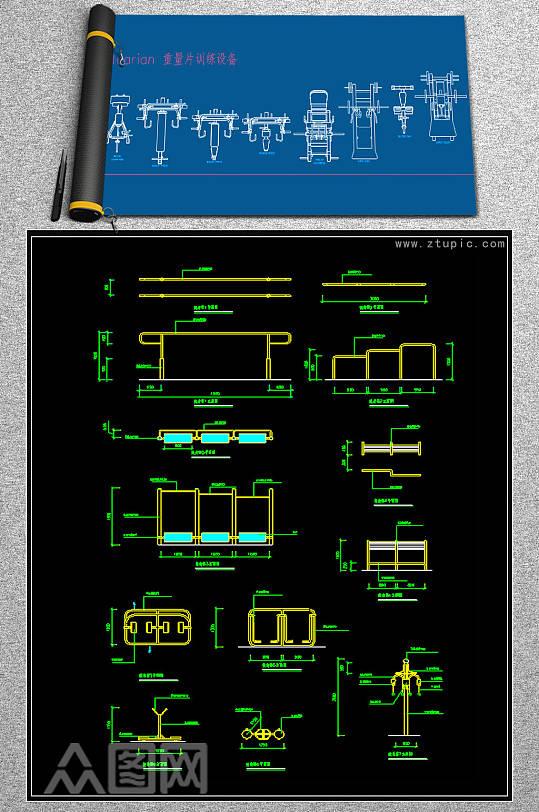 原创原创健身会所专用健身器材CAD-众图网