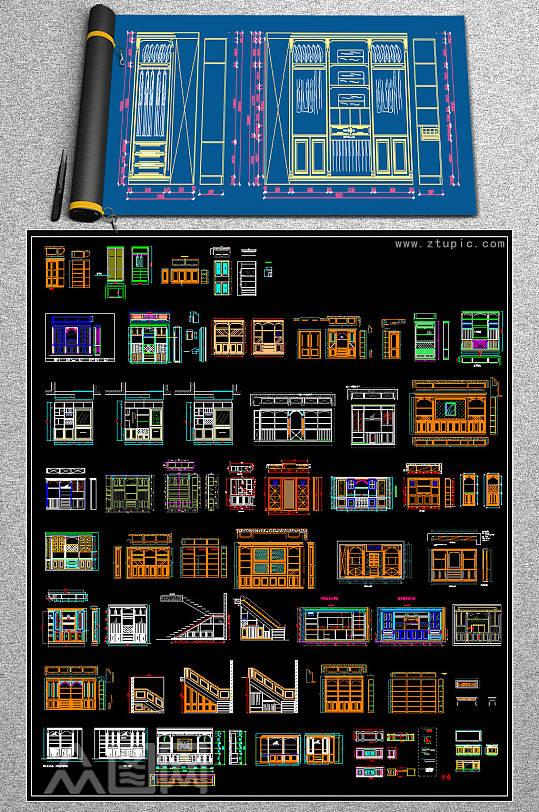 全屋定制酒柜书柜鞋柜衣柜CAD图库-众图网