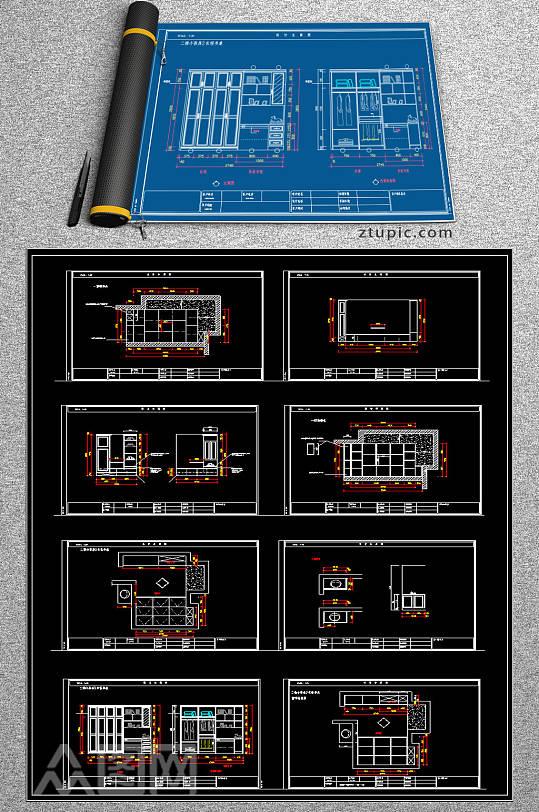 原创衣柜榻榻米CAD素材-众图网