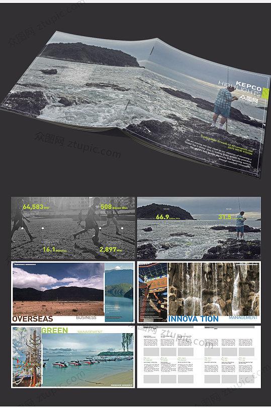 整套通用高档大气蓝色建筑工程画册-众图网