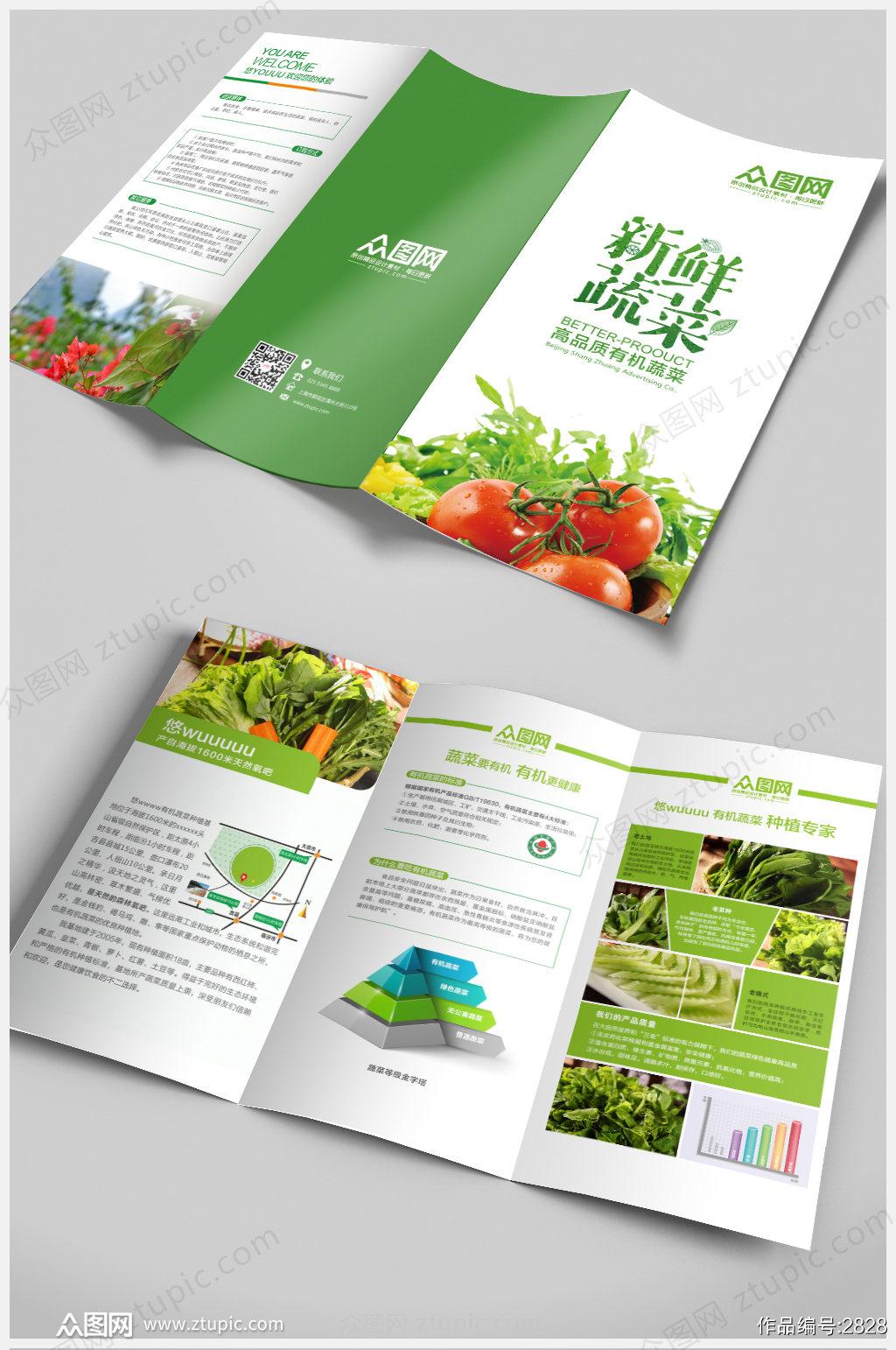 绿色蔬菜水果环保设计三折页素材