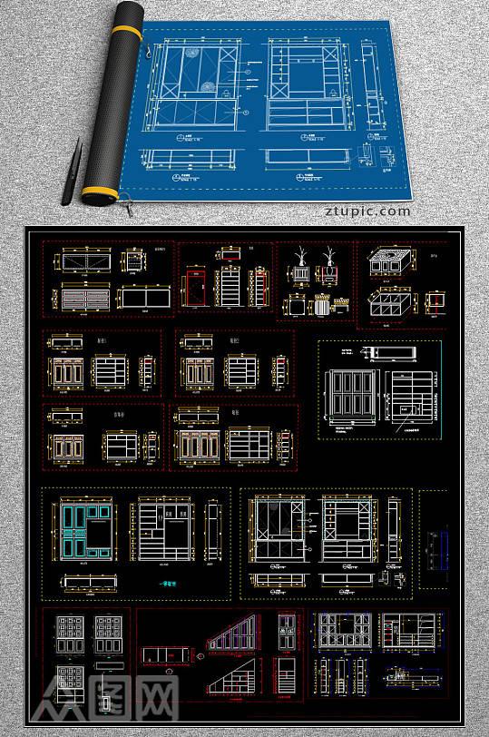 原创全屋定制鞋柜CAD图库-众图网