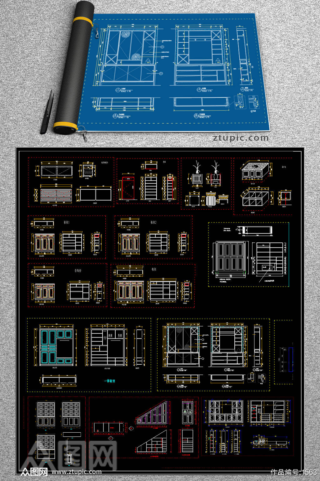 原创全屋定制鞋柜CAD图库素材