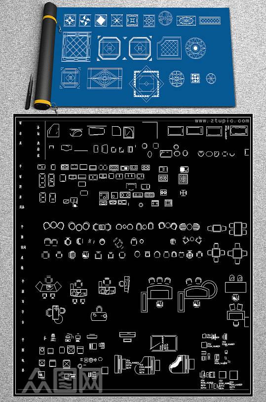 室内常用平面CAD图库-众图网