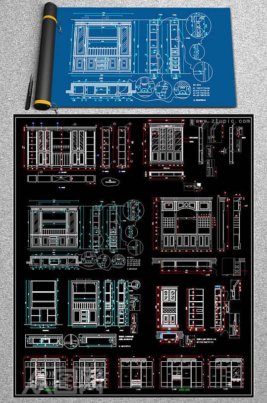 原创整木柜CAD图块-众图网