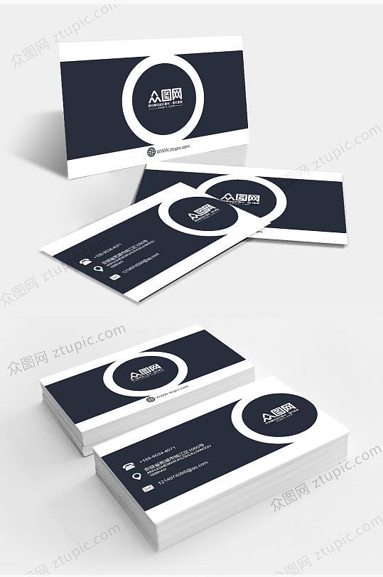 黑色简约商务名片设计-众图网