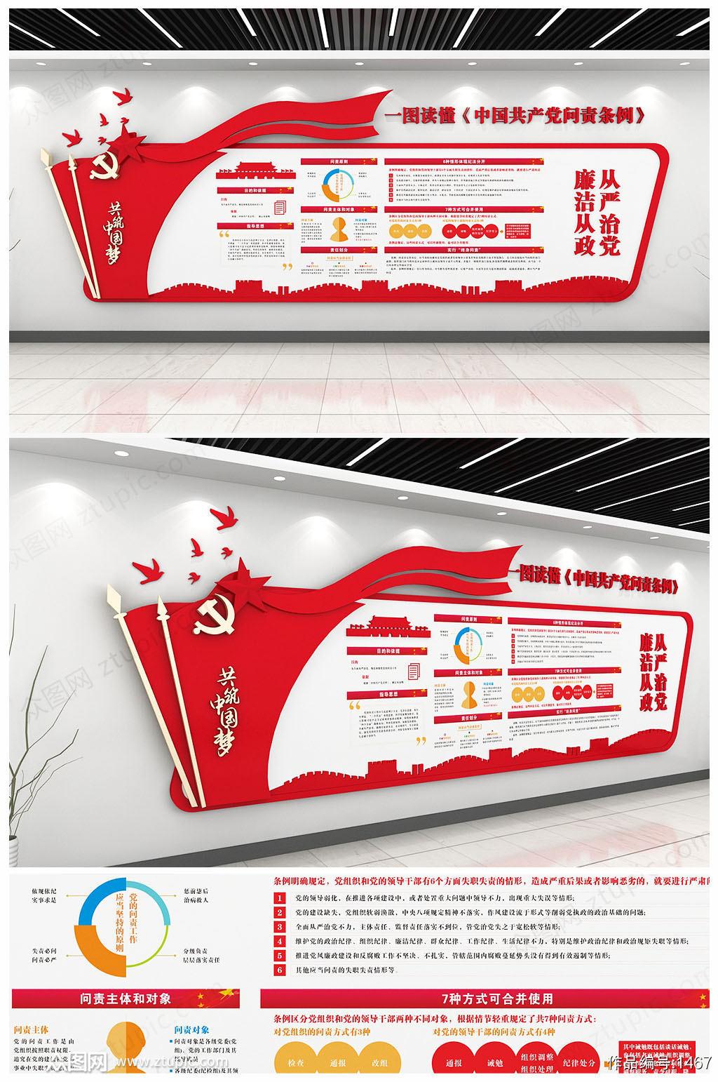 原创中国共产党问责条例党员活动室党建文化墙素材