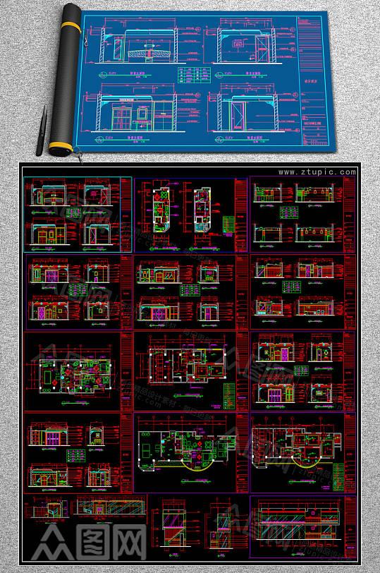 全套茶餐厅CAD模块-众图网