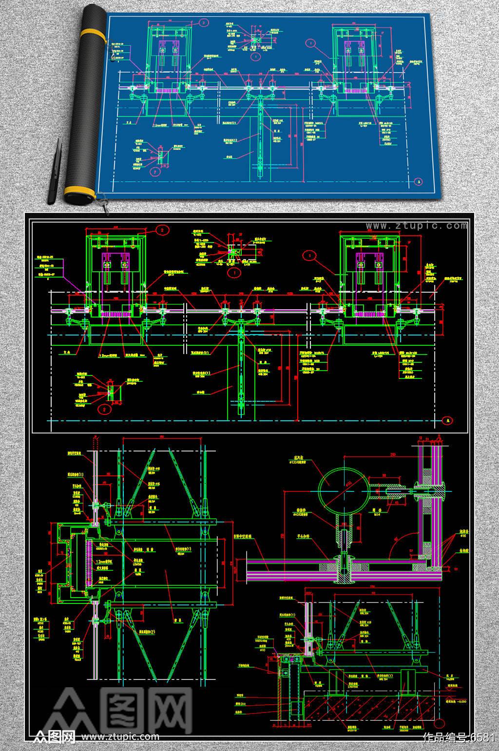 玻璃幕墙节点CAD施工图素材