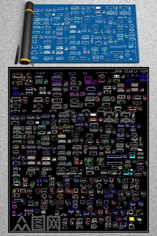时尚沙发CAD模块-众图网