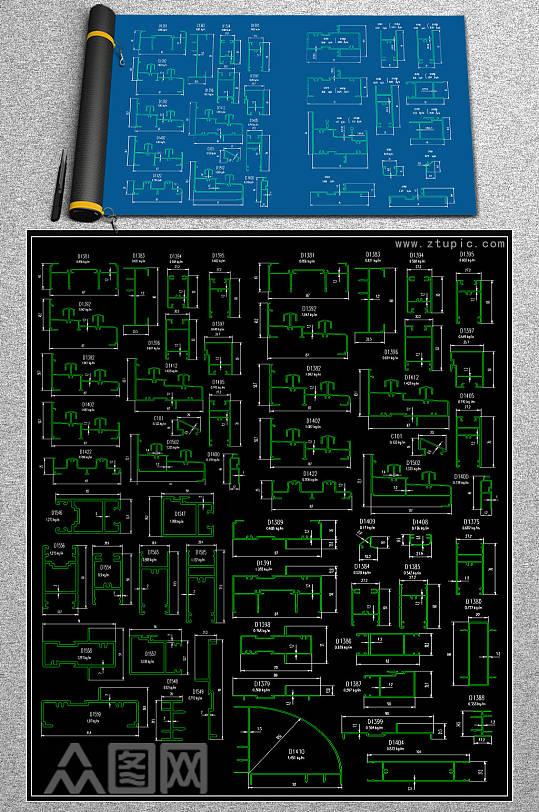 原创铝合金推拉窗CAD施工图-众图网