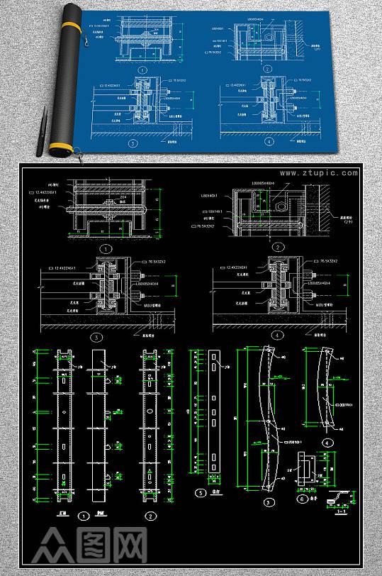 最新铁栅门构件CAD详图-众图网