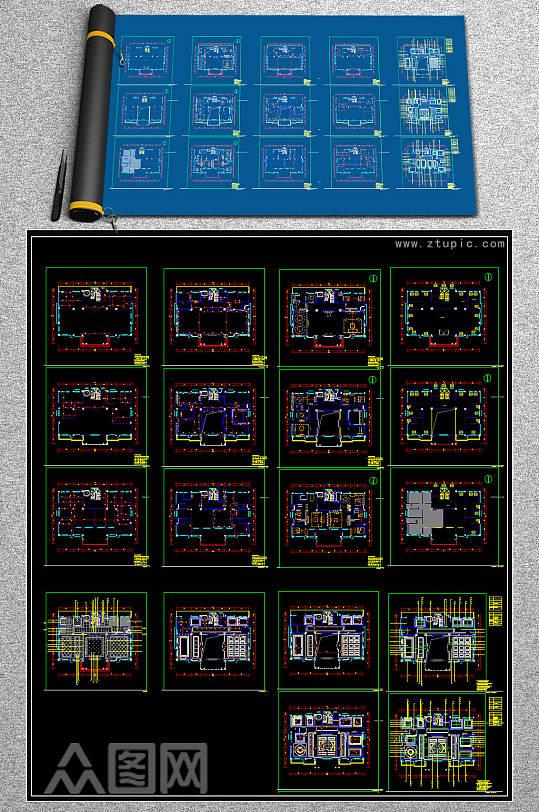 新款别墅CAD施工图-众图网