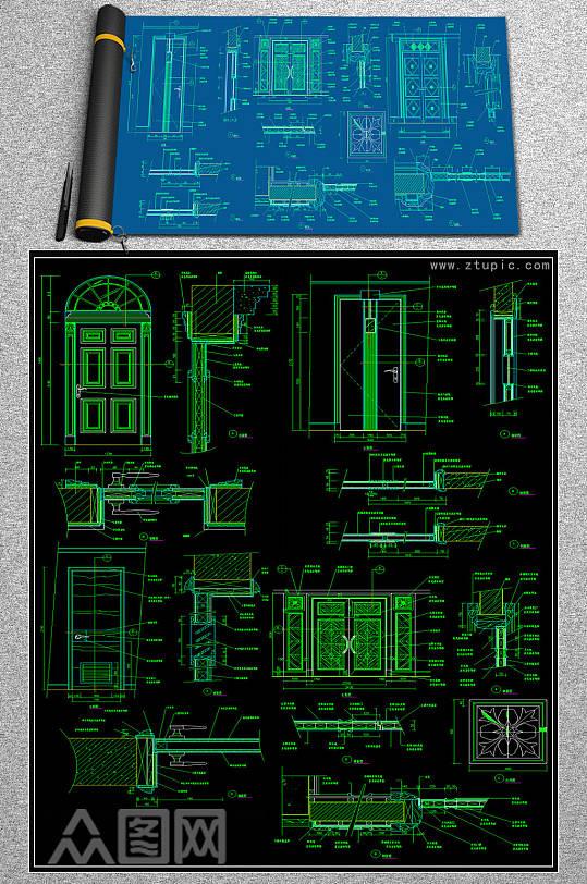 原创实木门CAD素材-众图网
