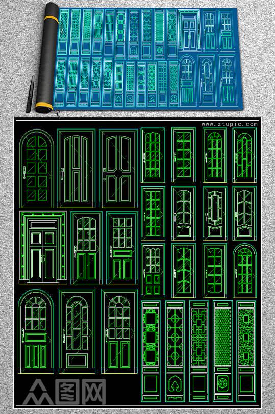 新款门大样CAD模版-众图网